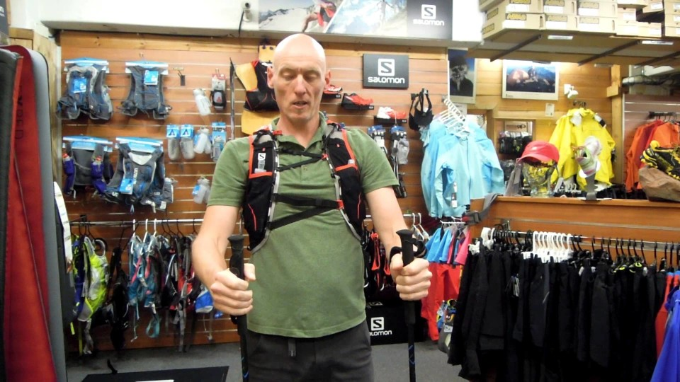 Ultra distance poles on a Salomon pack
